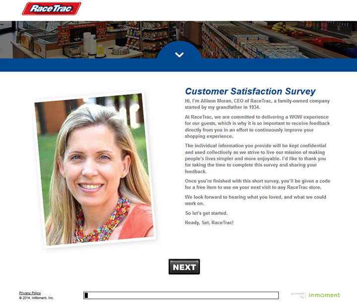 www.tellracetrac.com - racetrac customer satisfaction survey