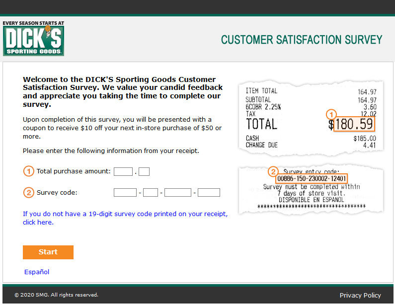 dickssportinggoods.com/feedback - dick's sporting goods customer satisfaction survey