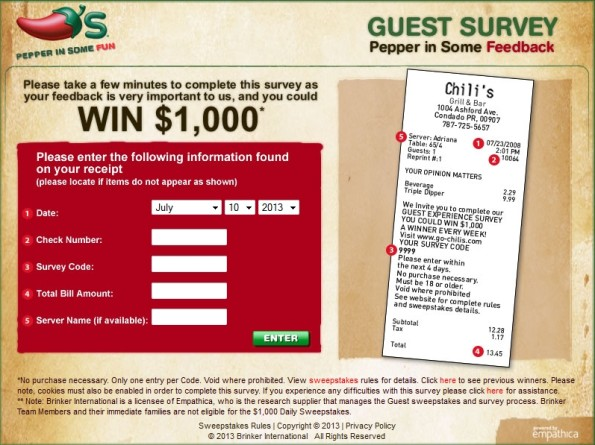 www.chilis-survey.com - chili's guest experience survey