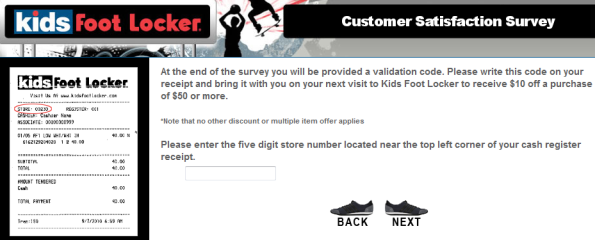 www.kidsfootlockersurvey.com - kids foot locker customer satisfaction survey