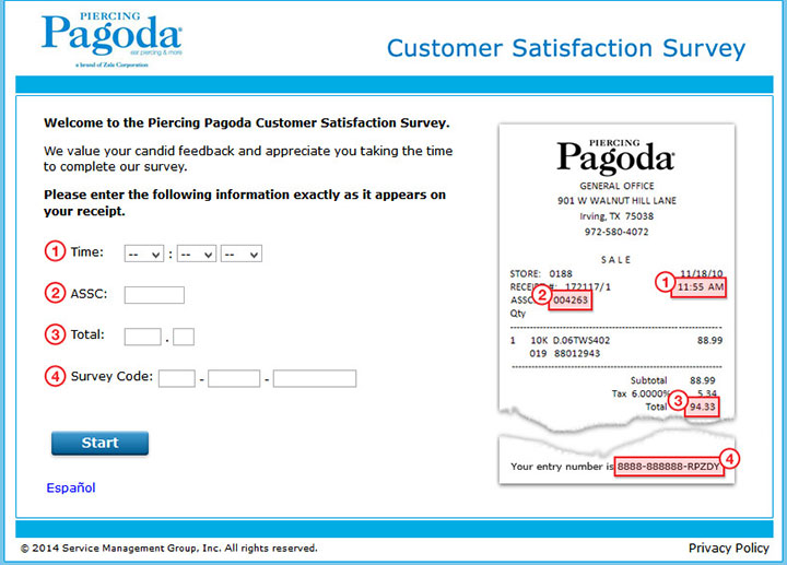 www.pagodasurvey.com - piercing pagoda customer satisfaction survey