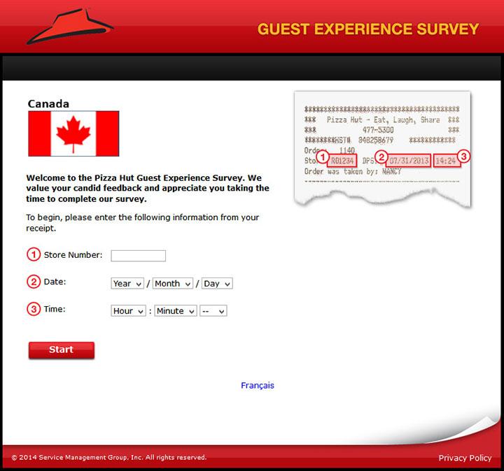 www.pizzahutlistens.ca - pizza hut canada guest experience survey