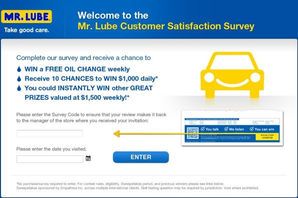 www.tellmrlube.com - mr. lube customer satisfaction survey