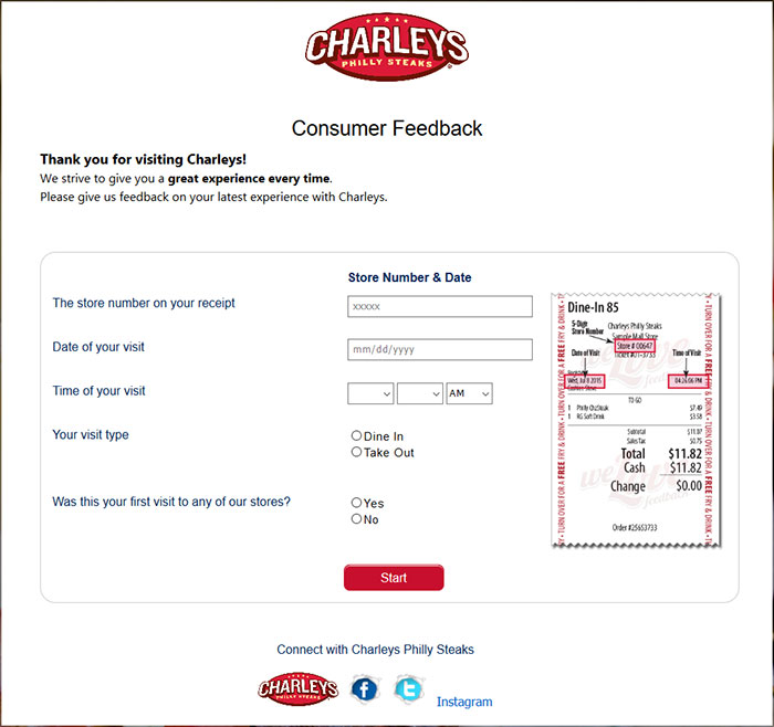 The Charley's Guest Satisfaction Survey, found at www.TellCharleys.com