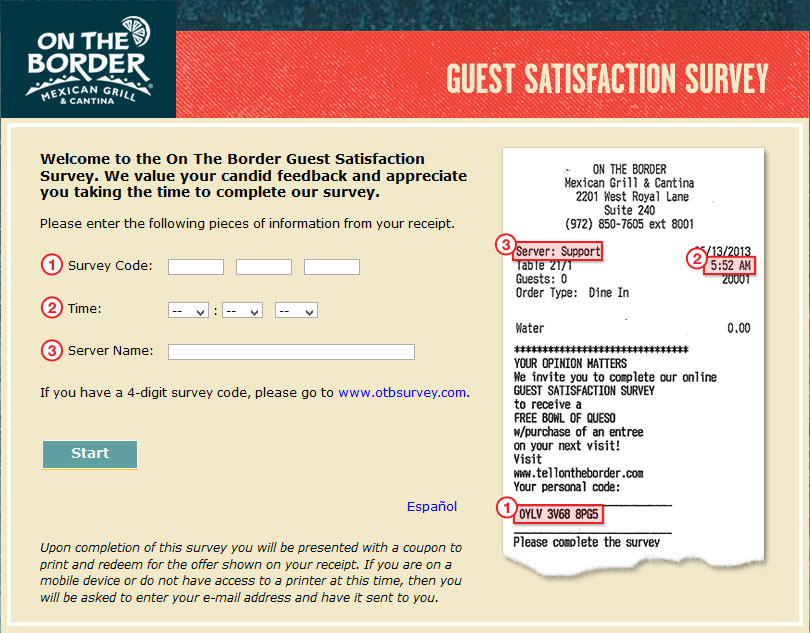 On The Border Guest Satisfaction Survey | www.Tellontheborder.com