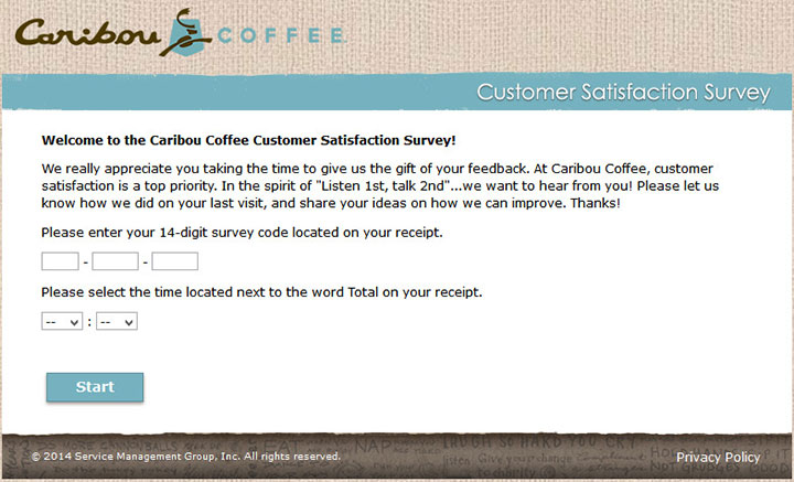 www.TellCaribou.com - Take Caribou Coffee to Receive a $1 OFF!
