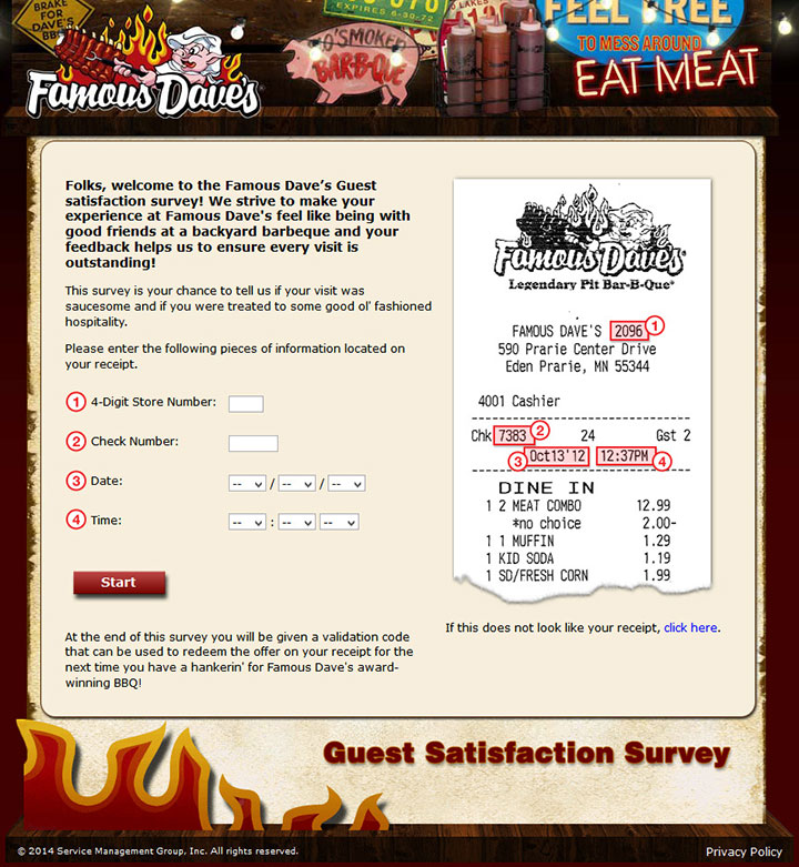 www.FamousDavesexperience.com - Take Famous Dave's Survey to Get a Validation Code!