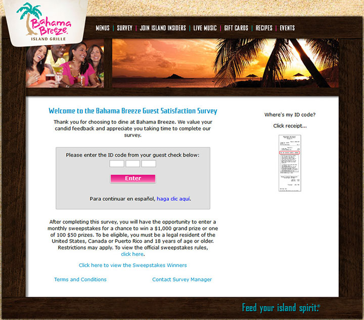 Bahama Breeze Guest Satisfaction Survey - www.bahamabreezesurvey.com