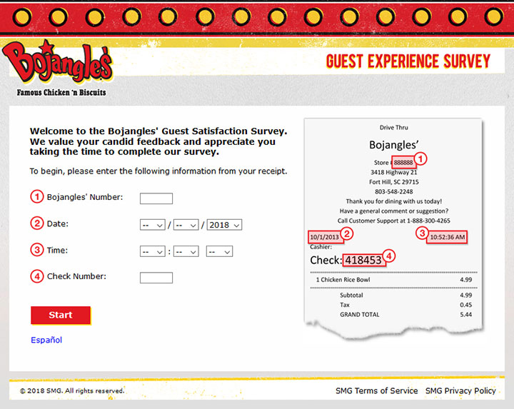 www.Bojangleslistens.com – Bojangles' Guest Satisfaction Survey
