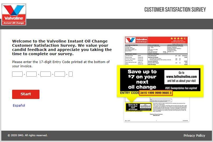 TellValvoline.com - Valvoline Survey